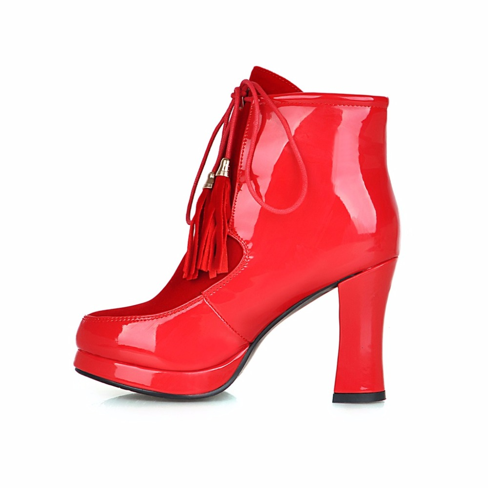 Brand New Hot Sales Women Platform Ankle Riding Boots Red Black Motorcycle Lady Combat Shoes High Heel EC216 Plus Big size 32 46<br><br>Aliexpress