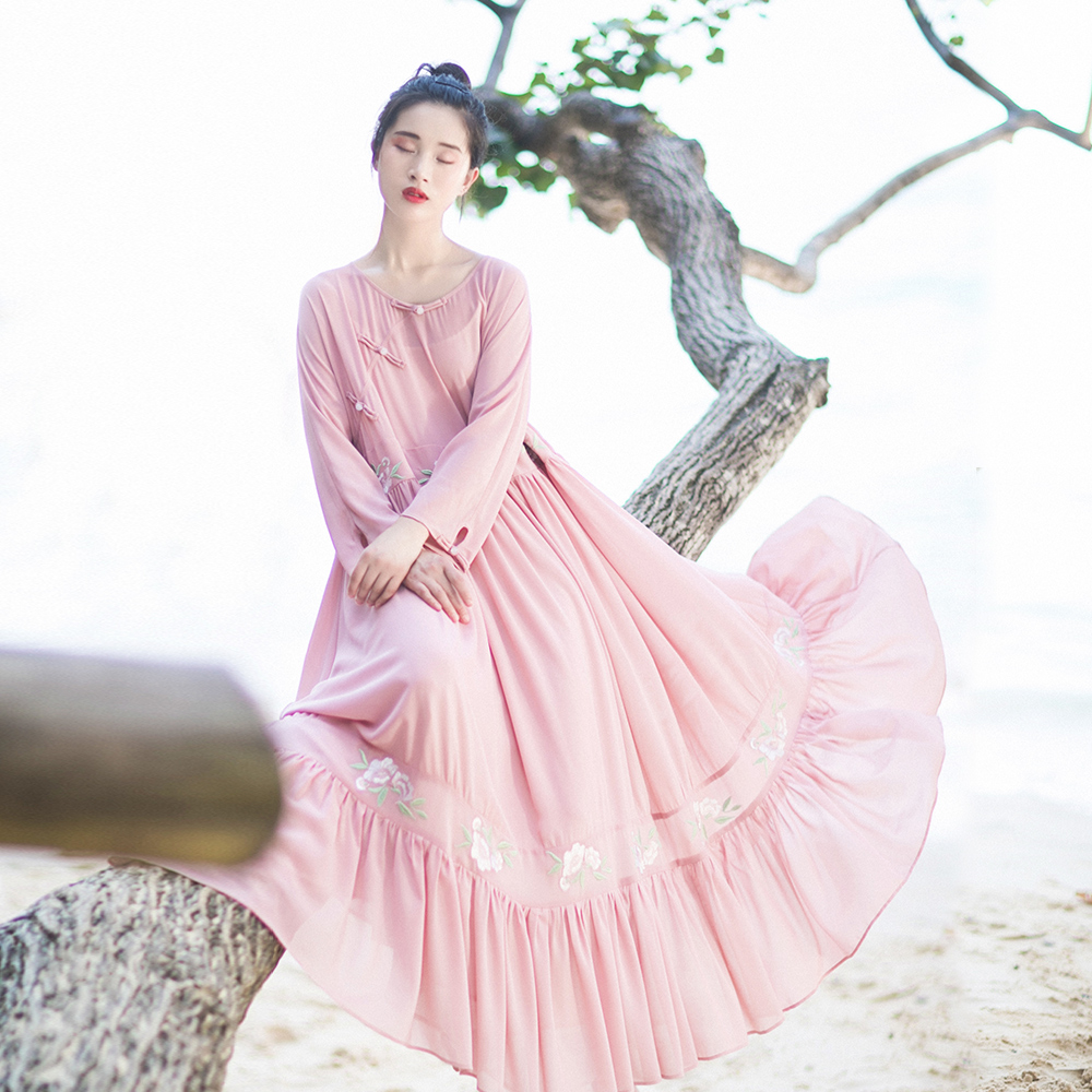 IRINAW610 new arrival summer 2018 original design loose long vintage embroidered chiffon dress pink