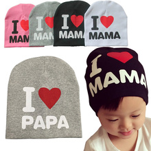 I LOVE MAMA PAPA spring cotton baby hat kids beanie cap bonnet enfant hat for 1-3 years old children