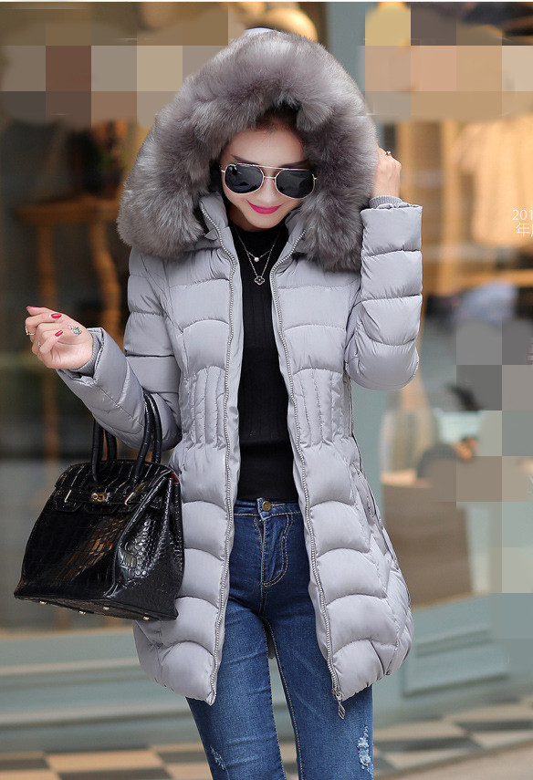 2016 women Long Winter Down Jacket Cotton Slim Overcoat Fur Hooded Elegant Casual cotton coat Long Sleeve Women Coat ParkaÎäåæäà è àêñåññóàðû<br><br>