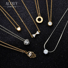 fashion jewelry zircon CZ bow-knot hand Roman numerals heart pendant necklace gift for women girl N2024