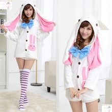 Vocaloid Cosplay Hatsune Miku Rabbit Costume Plush Sleepwear Kawaii Lovely Bunny Costume Easter Day Costume One Size
