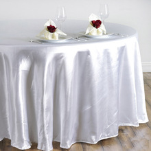 "high quality White Satin 108"" Round Tableclothes Table Cloth Wedding Banquet Wedding Party Decor 15 colors/ custom color"