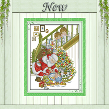 Happy Christmas Santa Claus kids home Decor counted printed on canvas DMC Cross Stitch kits 11CT 14CT needlework Set embroidery(China)