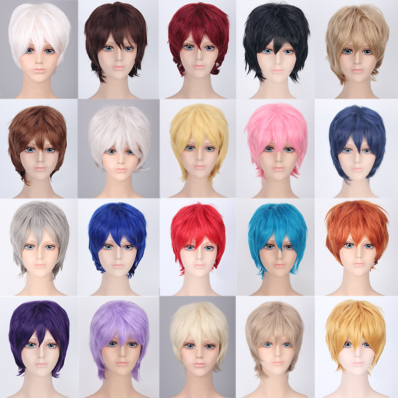 Coshome Naruto One Piece Fairy Tail Bleach Yato Cosplay Short Wig For Men Women Black Brown Yellow Red Blue Wigs (16)