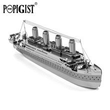 POPIGIST Quality 3D Metal Puzzle DIY Assembly Model Building  Mini Titanic Ship jigsaw Adult Kid Education Children Toy Gift Fun
