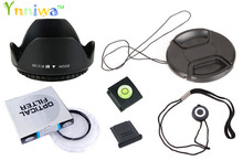6 in1 49 52 55 58 62 67 72 77 mm lens UV filter + center pinch Snap-on cap cover + lens cap line + lens hood + 2 hot shoe(China)