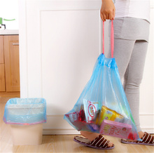 15pcs/Roll Household kitchen Automatic Collapse garbage bag Environmental Thicker plastic bags Wear a rope Waste storage bag(China)