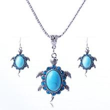 New Fashion Silver Plated Ball Chain Sea Turtle Necklace,  Blue Turtle Pendant with Earrings, Tortoise Necklace Set