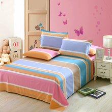 Stripe bed sheet White Pink Blue Orange Green fashion good quality twin full queen king size flat sheet bedding pillowcase