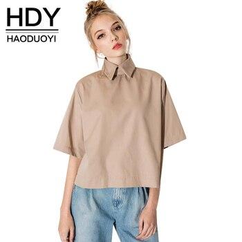 Hdy haoduoyi retro camisa estilo preppy moda gira el collar abajo blusa delgada camisa de las mujeres al por mayor y libre