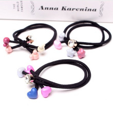 Free shipping New Korean Women Flower Headwear Accessories Rhinestone Beads Elastic Hair Band/Ties Ponytail Hair accessories(China)