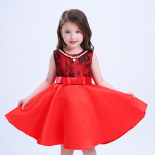 New Designer Childrens Dresses  2017 Fashion Noble Pretty Girl Dresses Sleeveless Infant Party Dress Princess Deguisement
