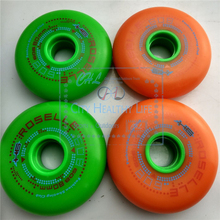 FSK Slalom Skating Wheel with 608 H6 Original Roselle All Meat Inline Skates Wheels, Green Orange for SEBA GYRO