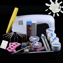Professional Nail Art Kits 9W Dryer Lamp Tube UV Gel Kit Brush Buffer Guides Toe Seperator Glitter Powder Liquid Tools(China)