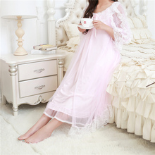 Autumn Robe Chemise Nightgowns Sleepshirts Lace Patchwork Sleepwear Indoor Clothing Sexy Night wear Soft Nightdress #H31