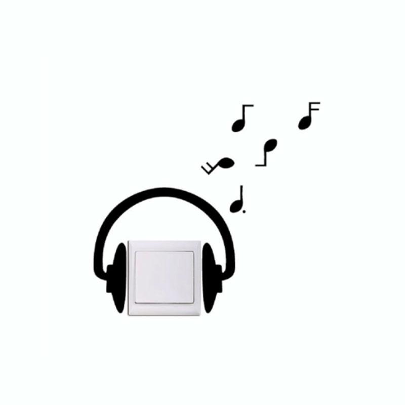 MUSIC HEAD PHONES MUSICAL HEAD SET LIGHT SWITCH PLUG SOCKET STICKER VINYL SW115
