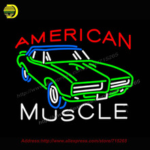 Muscle Car Neon Sign American Automotive Neon Bulb neon signs Garage Glass Tube Handcrafted Free Custom Design Flashlight 31x24