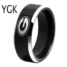 Free Shipping Customs Engraving Ring Hot Sales 8MM Black With Shiny Edges Georgia Bulldogs Primary Design Tungsten Wedding Ring(China)