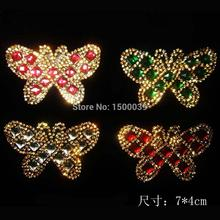 15Pcs/Lot Shining Butterfly Pattern hotfix rhinestone transfer motif For  garment accessories stones and crystals Wholesale
