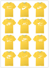 Hot sale spoof brand logo shirt high quality best cool men original T-shirt Glowed fashion men's clothing Top Seller yellow