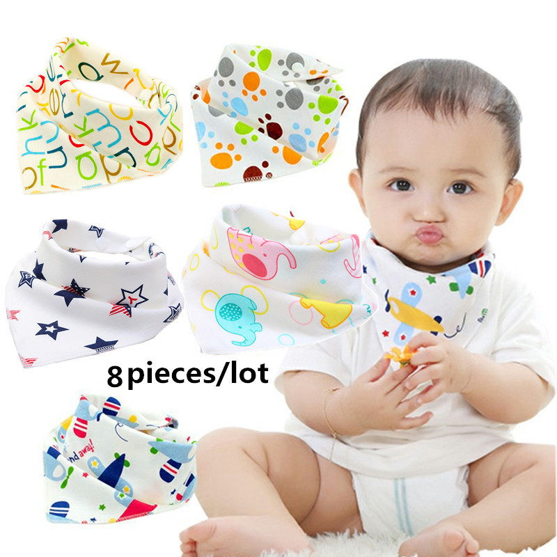 8 pieces/lot 100% Cotton cute Animal new Baby babador bandana bibs for babies neck Scarf boys Girls baby baby bib burp Cloths(China)