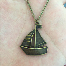 New Unique Vintage Antique Bronze Metal Paper Folded Sail Boat Ship Sailing Pendant Necklace for Women Men Punk Lucky Jewelry