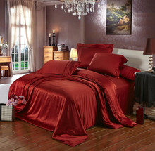 100% Mulberry Silk Satin Silver Wine Red champagne Deep brown colors Queen size 5 pcs bedding set 19 mm seamless customize(China)