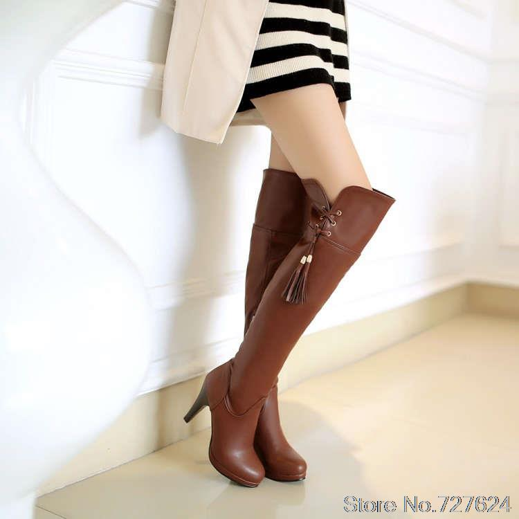 Boots PU new  long boots Women  Large size small yards 33 40 41 42 43 44 45 46 47  high heel 9.5CM Platform 1CM EUR Size 32-48<br><br>Aliexpress