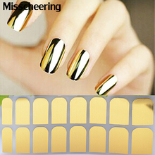 1sheet Nail Art Patch Gold Silver Black Minx Smooth Nail Tips Decal Wraps,Full Cover Designed Nail Decoration Stickers(China)