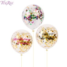 FENGRISE 5pcs 12 Inch Happy Birthday Printed Balloons Round Inflatable Balloon Ball Birthday Party Decorations Black Pink Gold