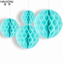 HAOCHU New Year Home Room Wedding Party Birthday Baby Shower Market Decorations Sky Blue Honeycomb Balls Lanterns Gifts 4pcs/lot(China)