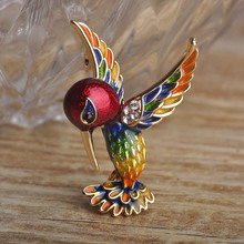 Enamel Bird Brooch With Crystal Exquisite Gold-color Colorful Animal Brooch Metal Alloy Broche Hat Pendant Women Kids Clips