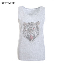 SEPTDEER High Street Summer Tank Top for Women Cotton Slim Ladies Thin Vest Plus Size Dimaond Tiger Tops S-6XL LP52289(China)