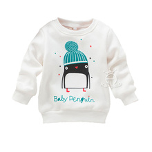 kids Winter Cute Little Penguin Cashmere Hoodies children clothes(China)