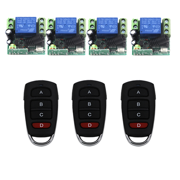 MITI-DC 12V 10A Small Remote Control Switch, 3 Transmitter + 4 Receiver, Built-in Battery Controllers 433MHz SKU: 5430<br>