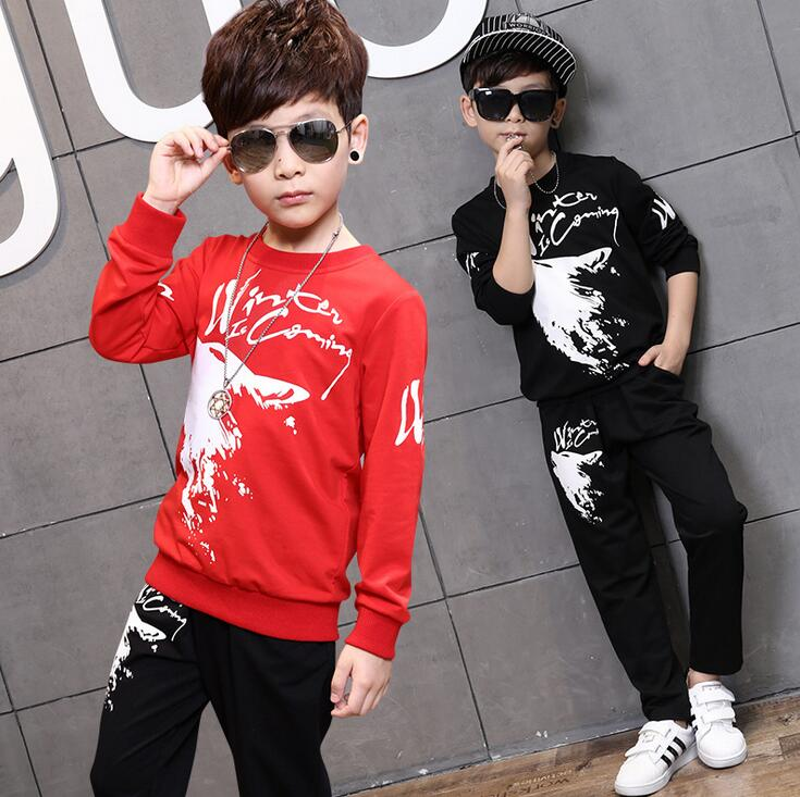 2018 spring autumn boys clothing sets wolf Print Hoodies with Sport pants Trakcsuit boys clothes suits For 4 6 8 10 12 Years<br>