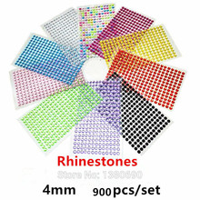 900pcs/set 4mm Colour Crystal 3D Individuality Creative Sticker Sticker Diamond DIY Rhinestone Table Car Decorative Stickers