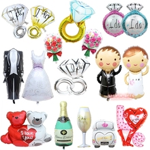 AJP 1pc Groom Bride Wedding Dress Foil Balloon Marriage Decoration Balloon for Romantic Wedding Engagement layout(China)