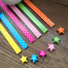 Dots Printed Origami Stars Paper Lucky Star folded Colored Crepe  Paper Creed Crafts Scrapbooking Paper Creative Quilling Paper