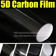 Premium High Glossy Black 5D Carbon Fiber Vinyl 5D Carbon Fibre Wrap 5D Carbon Fiber Film Air Free Bubble For Vehicle Motorcyle