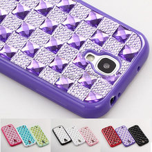 Luxury sexy Lady Shiny Bling Clear plaid Gem Diamond Resin TPU frame Case For Samsung GALAXY S4 i9500 Back Cover Protect shell