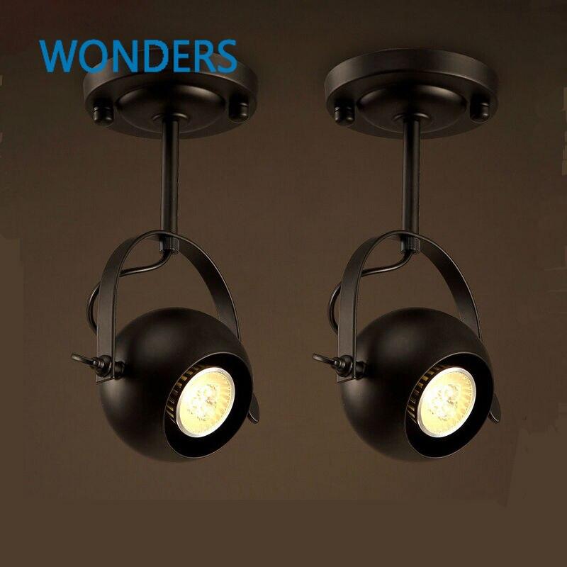 Retro Loft Vintage LED Track Light spherosome Industrial Ceiling Bar Clothing Personality spotlight Absorb Dome Light luminaire<br>