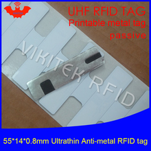 UHF RFID Ultrathin anti metal tag 915m 868m M4QT 55*14*0.8mm EPCC1G2 6C IT fixed assets small printable PET passive RFID Label