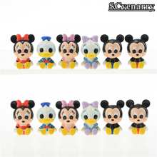 12pcs/lot Minnie Donald Duck Mickey Mouse PVC Action Figure Collection Model Toys Kids Toys Doll Children Gift(China)