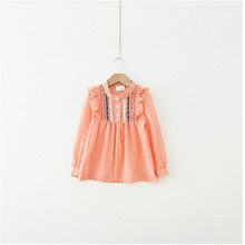 Fashion Baby Girls Ethnic Fusion Long Sleeve Tee Shirts Ruffle Embroidered Tops T-shirts(China)