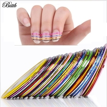 Bittb 30pcs Colors Nail Strips Best Nails Art Design Strips,New Manicure Nail Tape Strip Stickers Decal Beauty Tools Line Cheap(China)