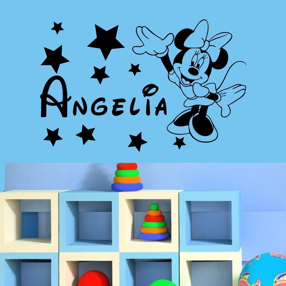 HTB1yUAiRpXXXXaKXpXXq6xXFXXX9 - YOYOYU Mickey Minnie Mouse Custom Name wall sticker For Kids Room