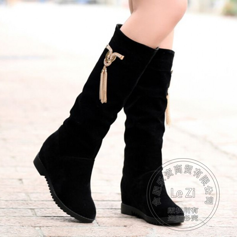 Rubber Faux Fur Shoes Womans Round Toe Metal Decoration With Socks Nubuck Knee-high Riding Fashion Boots Increased Within The<br><br>Aliexpress