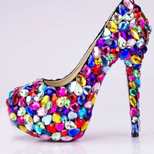 Candy Color Crystal Wedding Dres Shoes Super High Heel Night Club Shoes Special Occasion Shoes Party Prom Dress Shoes